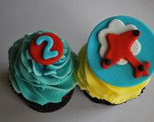 Airplane Fondant Cupcake Topper Set
