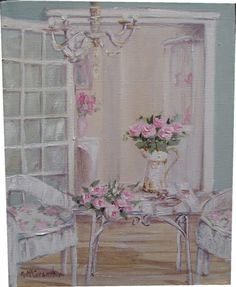 Original Whimsical Painting -  The Shabby Chic Verandah  - Postage is included