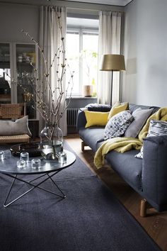 The living room color schemes to give the impression of more colorful living. Find pretty living room color scheme ideas that speak your personality. Living Room Color Schemes, Living Room Colors, New Living Room, Living Room Paint, Living Room Sofa, Apartment Living, Living Room Furniture, Living Room Designs, Charcoal Sofa Living Room
