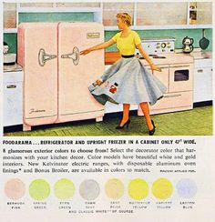 What Ever Happened to Pastel Kitchen Appliances? Vintage Advertisements, Vintage Ads, Retro Ads, Retro Advertising, Vintage Decor, Vintage Kitchen Appliances, 1950s Kitchen, Updated Kitchen, Houses In America