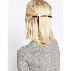 ASOS Sleek Slim Hair Barette (33 AED) ❤ liked on Polyvore featuring accessories, hair accessories, gold, asos and asos hair accessories