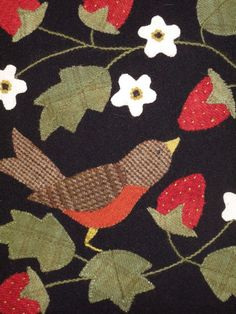 Wool applique... Hollyhill Quilt Shoppe From Bonnie's Garden by Bonny Sullivan, pub. Quiltmania ...