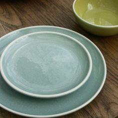Sixties - Assiette à dessert  Celadon en céramique (par6)