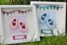 Box+framed+baby+crochet+slippers+by+PearBlossomCrafts+on+Etsy,+€30.00