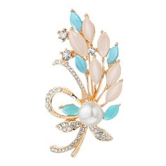 Opal Simulated-Pearl Flower Brooches Pins //Price: $8.99 & FREE Shipping //     #pinsforsale #hatpin #ptd