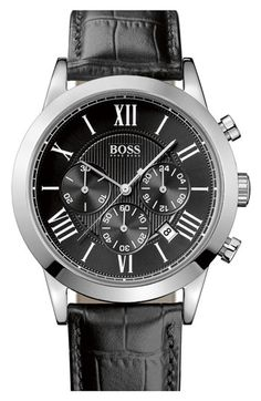 BOSS HUGO BOSS Leather Strap Round Chronograph Watch, 43mm | Nordstrom