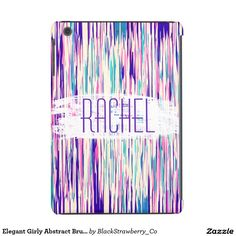 Elegant Girly Abstract Brushstrokes Monogram iPad Mini Covers