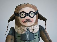 Wonderful, whimsical painting! Love it!! max the pilot painted art doll  soft sculpture by lolka on Etsy, $300.00