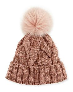 Cable-Knit Fur Pom-Pom Hat by Loro Piana at Bergdorf Goodman.