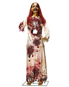 See-Thru Sindy exclusively at Spirit Halloween - See-Thru Sindy is always trying to hide her feelings, but we can see right through her! This horrifying static prop features a blood-covered dress and a decomposing zombie head with red hair for only $129.99
