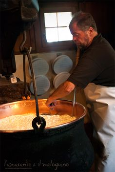 Cheesemaker - Switzerland. Copper vats.