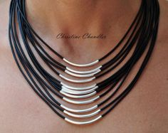 Leather Necklace Christine Chandler Leather by ChristineChandler