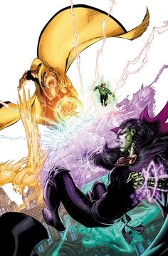 Earth 2 - Tower of Fate: The Man Who Was Fate. Doctor Fate and Wotan fighting with mystic energy while Green Lantern provides support.