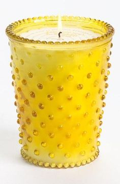 Home decor: Hobnail Glass Candle at Nordstrom . pink, champagne, yellow, orange, and turquoise. Candle Craft, Glass Candle, My Favorite Color, My Favorite Things, Yellow Cottage, Rose Cottage, Mellow Yellow, Color Yellow, Yellow Theme