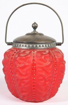 VICTORIAN RUBY SATIN GLAZE BISCUIT JAR