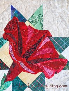 Quilt Pattern  Petunia Applique Art Quilt  by JaneLKakaley on Etsy, $10.00