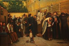 """eduard gurevich (©2013 artmajeur.com/eduard-gurevich) From a series of paintings """"Let my people go."""" The Western Wall, a message on the Stone. oil on canvas."""