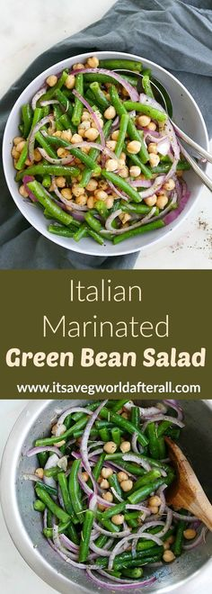 Recipes Salad Italian Marinated Green Bean Salad - a healthy green bean salad marinated in homemade Italian dressing. This cold green bean salad is the perfect summer potluck or cookout dish. So fresh and delicious! Vegan and gluten free. Healthy Green Beans, Green Bean Salads, Bean Salad Recipes, Green Bean Recipes, Vegan Side Dishes, Vegetable Side Dishes, Italian Side Dishes, Cold Side Dishes, Vegetarian Food