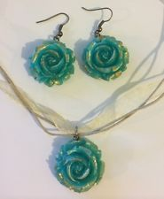 Teal And Gold Rose Necklace And Earring Jewelry Set