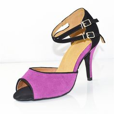 Flock 85mm High Heel Women's Latin Dance Shoes Ballroom Salsa Tango Dancing Shoes For Girls Genuine Leather Outsole Purple