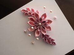 Pink  Kanzashi Flower  Hair BarretteClip or by LihiniCreations