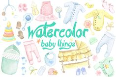 Watercolor Baby Things Icons +BONUS by Anna on @creativemarket