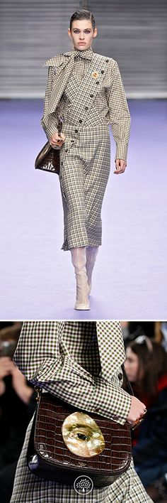 Mulberry Autumn Winter' 17 LFW show. Adelaide Blouse in Green Cotton Gingham, Amanda Skirt in Cream Wool Check, Tailored Boot in Cream Polished Calf, Brimley Bag in Dark Brown Croc Print Leather, Portrait Round Ring in Brass and Beads Pin in Brass and Mother Of Pearl. Discover more on Mulberry.com.