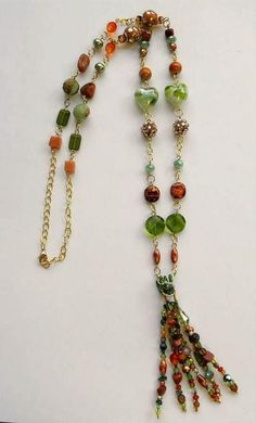 Jewelry: Green and Brown Tassel Necklace  This could be used as a landyard as well, right?