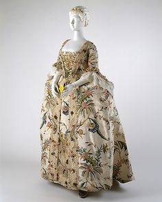 1740s: A perfect example of the robe à la française at mid-century, this hand-painted silk dress displays the opulence, Orientalism, and insatiable baroque excess of the time.....