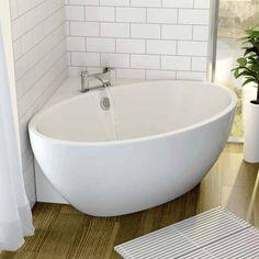 Affine Fontaine Corner Freestanding Bath x with Built-In Waste – Heike Köster – Badezimmer House Bathroom, Corner Tub, Bathtub Sizes, Small Bathroom, Modern Bathroom, Corner Bath, Tiny Bathroom, Free Standing Bath, Bathroom Design