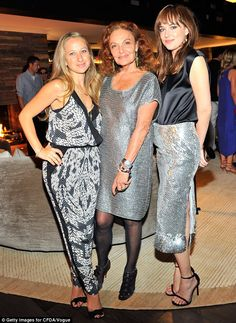 Say cheese: (L-R) Jewellery designer Jennifer Meyer, CFDA Vogue Fashion Fund CEO Diana Von Furstenberg and Dakota Johnson , who changed from her embellished dress into a sleeveless black top and silver skirt