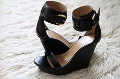sleek black wedges.