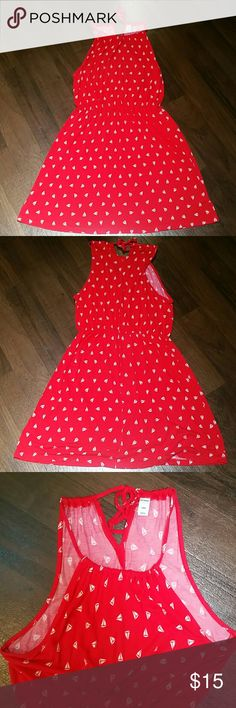 Old Navy Sun dress size Large Feels super soft and very comfortable  Vivid red with white sail boat pattern   Excellent pre-owned condition Old Navy Dresses
