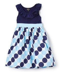 Navy Dot Yoke Dress - Girls
