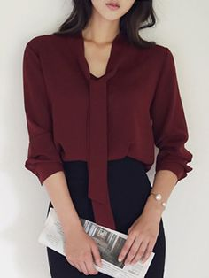 Autumn Spring Blend Women Tie Collar Plain Roll-Up Sleeve Long Sleeve Blouses Casual Work Outfits, Business Casual Outfits, Office Outfits, Work Attire, Classy Outfits, Work Fashion, Fashion Outfits, Formal Blouses, Professional Outfits