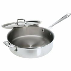 All-Clad: 4 QT. Saute Pan & Lid ~ Brushed Stainless Steel by All-Clad Metalcrafters LLC. $189.97. Patented 5-Ply Construction - LIFETIME WARRANTY!. Signature Cast Stainless Handles With Stainless Rivets Keep Hands Permanently Secure.. Alternating Layers Of Stainless And Aluminum Enhance Even Heating Performance & Eliminate Warping.. Easy To Clean 18/10 Stainless Steel Interior Will Not React With Food!. Optimized For Use On Inducvtion Cooktops, With Superior Pe...