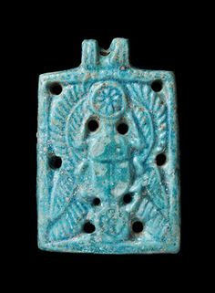 *WINGED SCARAB AMULET: Faience, E.-Kurru, Pyramid #53, (Tomb Queen Tabiry), c. 750-720 BC. reign of Piye.
