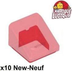 Red Slope Curved 4x1 Double No Studs LEGO X 2 93273 NEUF