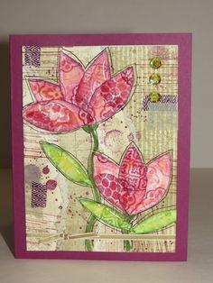 Carte de voeux, de remerciement ou de St-Valentin «Fleurs Mix média» Stampin'Up! de la boutique Lamainalacarte sur Etsy