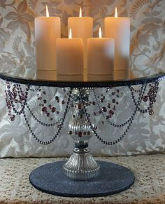 18 Round Silver & Sangria Wedding Cake Stand by NobleNest on Etsy, $325.00