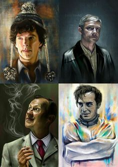 """I LOVE this. Sherlock has the train man's hat. John's background says """"Best Friend."""" Moriarty looks straight up INSANE. But most importantly: Mycroft's smoke is in the shape of a GOLDFISH!!"""