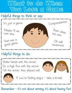 Coping with losing a game can be tricky for some children. Use this FREE visual to discuss what to do if they lose the game before they play it.