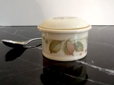 Vintage Porcelain Floral Salt Cellar with Stainless Steel Spoon, Made by Steelite, England, Salt Box by GentlyKept on Etsy https://www.etsy.com/listing/213298705/vintage-porcelain-floral-salt-cellar