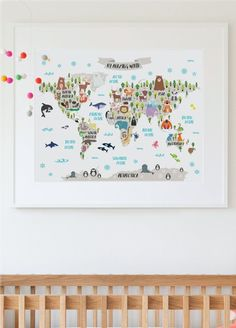 This amazing animal world map poster will add a special touch to your already wonderful nursery and will bring your child countless opportunities to learn about the world as she grows. It will also make an unique gift to a special little boy or girl in your life. PLEASE NOTE: You