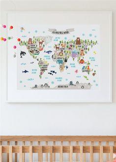Kindergarten druckbare tierische Weltkarte von PrintasticStudio