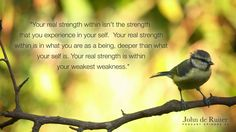 """""""Your real strength within isn't the strength that you experience in your self. Your real strength within is in what you are as a being, deeper than what your self is. Your real strength is within your weakest weakness."""" — John de Ruiter Podcast 24"""