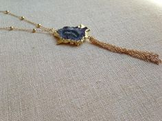Raw Amethyst Slice Edged in 24k Gold on a by PassionFwrdJewelry, $73.00