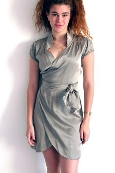 Short Wrap Dress,  Sage Green, Satin Mini Dress, Long Wrapping Belt, Short Sleeves, Summer Dress, Party Dress , 30 % Sale by TADSON via Etsy