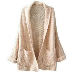 Beige Lapel Pocket Detail Open Front Long Sleeve Knit Cardigan ❤ liked on Polyvore featuring tops, cardigans, jackets, open front cardigan, cardigan top, long sleeve tops, beige top and lapel cardigan
