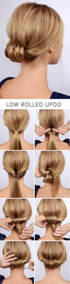 Lulus How-To: Low Rolled Updo Hair Tutorial Need to get party-ready in a pinch? Or maybe you're in need of a new look for that upcoming dinner party? Our Low Rolled Updo is just the thing! Side Hairstyles, Wedding Hairstyles For Long Hair, Headband Hairstyles, Trendy Hairstyles, Straight Hairstyles, Hairstyle Ideas, Headband Curls, Hair Ideas, Hairstyle Tutorials